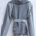 Szürke szövet motoros dzseki, Ruha, divat, cipő, Női ruha, Kabát, Varrás, A dzsekit többféleképpen lehet viselni attól függően hogyan záródik. A bélése türkiz színű pamutból..., Meska