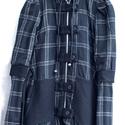Fekete kockás kabát, Ruha, divat, cipő, Női ruha, Kabát, Kosztüm, Varrás, Egyedi tervezésű kabát, fekete kockás mintázatú, kapucnis és  bélelt. Az alja összeköthető csomóra,..., Meska