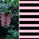Csíkos pamut póló, Ruha, divat, cipő, Női ruha, Felsőrész, póló, Blúz, Varrás, Vastagabb, merevebb pamutból készült, csíkos, eresztett ujjú  póló. Derekán fekete megkötő pánt, íg..., Meska