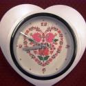 Falióra magyaros mintával szív alakú., Ékszer, óra, Karóra, óra, , Meska