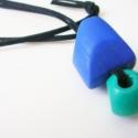 Kék - nyaklánc, Ékszer, óra, Nyaklánc, Ékszerkészítés, Felhasznált anyagok:- velúr zsinór                     - fa gyöngy    A nyaklánc teljes hossza:80 c..., Meska