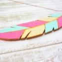 Kék rózsaszín Indian summer- nyaklánc, Ékszer, óra, Nyaklánc, Ékszerkészítés, A tollat saját kezűleg festettem.  Felhasznált anyagok: - fa                      - szerelékek     ..., Meska