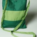 zöld csíkos válltáska, Táska, Ruha, divat, cipő, Tarisznya, Válltáska, oldaltáska, Varrás, Zöld vászonból készült, magassága: 26cm, szélessége: 21cm, egy zseb található benne. Mágneses paten..., Meska