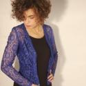 csipke felső, Ruha, divat, cipő, Női ruha, Felsőrész, póló, Varrás, Elegáns kék csipke kabátka. XS-es méret., Meska