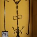 Kandallószett tartóval, Otthon, lakberendezés, Dekoráció, Kovácsoltvas, Kandallószett és tartó kovácsolt vasból, 90 cm, Meska