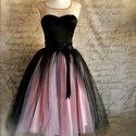 rózsaszín fekete tüll szoknya, Ruha, divat, cipő, Esküvői ruha, Női ruha, Estélyi ruha, Varrás, Tüll szoknya....egy alsószoknya, egy réteg szatén selyem szoknya, és 1réteg tüll. Derékbősége szabá..., Meska