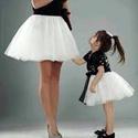 Tüll szoknya anyukának, és lányának., Baba-mama-gyerek, Ruha, divat, cipő, Esküvői ruha, Női ruha, Varrás, Tüll szoknya anyukának, és lányának. Szaténselyem alsószoknya 2-3 réteg tüllel.A dereka szabályozha..., Meska