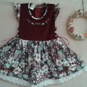 Bordó kordbársony, virágos  lányka ruha, Ruha, divat, cipő, Gyerekruha, Gyerek (4-10 év), Kisgyerek (1-4 év), Hímzés, Varrás, Bordó virágos  lányka ruha,  kétoldalt fűzővel szabályozható a bősége.80-134-es méretig készítem., Meska