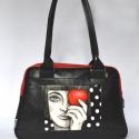 táska kézzel festett képpel /fekete-piros, lány almával/, Táska, Laptoptáska, Válltáska, oldaltáska, Festészet, Varrás, Kényelmes, jól pakolható műbőr táska. Hordható vállon és karon is.  A táska nagy előnye, hogy nagyo..., Meska