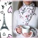 Sál kesztyű szett Párizs Városi séta Körsál Nyakmelegítő, Ruha, divat, cipő, Kendő, sál, sapka, kesztyű, Sál, Kesztyű, Varrás, Sál kesztyű szett  Kávéházi hangulat  Nagyon szép, fehér alapon jellegzetes Párizs mintájú, kelleme..., Meska