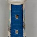 Levantei jellegű kék világítótorony , Otthon, lakberendezés, Mindenmás, Lámpa, Hangulatlámpa, Decoupage, szalvétatechnika, Mindenmás, A világítótorony kialakításánál fontos szempont volt, hogy ne csak világítson, hanem akár dísztárgy..., Meska