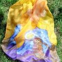 Baglyos-holdas stóla, Képzőművészet, Ruha, divat, cipő, Textil, Női ruha, Selyemfestés, 40x150 cm-es hernyóselyemből készült stóla. Saját tervezésű, kézzel festett termék., Meska