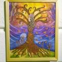 """""""Elengedés"""" selyemkép, fa keretben, Dekoráció, Képzőművészet, Kép, Textil, Selyemfestés, Kb. 40x60 cm-es, pongé 9 hernyóselyemre kézzel festett, egyedi tervezésű selyemkép, fa keretben.   ..., Meska"""