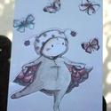 """""""Pillangós"""" táblakép, Otthon, lakberendezés, Falikép, Mindenmás, 16 éves mesekönyvillusztrátornak készülő Zsófi rajzával készülő, retro fémtáblára emlékeztető stílu..., Meska"""