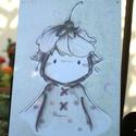 """""""Cseresznyevirág"""" táblakép, Otthon, lakberendezés, Falikép, Mindenmás, 16 éves mesekönyvillusztrátornak készülő Zsófi rajzával készülő, retro fémtáblára emlékeztető stílu..., Meska"""