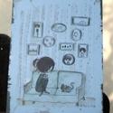 """""""Nappaliban"""" táblakép, Otthon, lakberendezés, Falikép, Mindenmás, 16 éves mesekönyvillusztrátornak készülő Zsófi rajzával készülő, retro fémtáblára emlékeztető stílu..., Meska"""