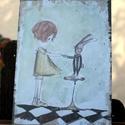 """""""Nyuszival táncoló"""" táblakép, Otthon, lakberendezés, Falikép, Mindenmás, 16 éves mesekönyvillusztrátornak készülő Zsófi rajzával készülő, retro fémtáblára emlékeztető stílu..., Meska"""