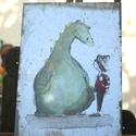 """""""Sárkányos"""" táblakép, Otthon, lakberendezés, Falikép, Mindenmás, 16 éves mesekönyvillusztrátornak készülő Zsófi rajzával készülő, retro fémtáblára emlékeztető stílu..., Meska"""