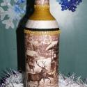 Tekert boros üveg karácsonyra! Szarvas mintával, Dekoráció, Otthon, lakberendezés, Férfiaknak, Karácsonyi, adventi apróságok, Decoupage, szalvétatechnika, Szeretettel köszöntelek!  Tekert boros üveget készítettem!  A minta szalvétatechnikával készült, eg..., Meska