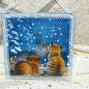 Kedves téli kép cicaimádóknak!, Dekoráció, Karácsonyi, adventi apróságok, Karácsonyi dekoráció, Kép, Decoupage, szalvétatechnika, Szeretettel köszöntelek!  Hangulatos cicás téli képet készítettem falapra szalvétát dekupázsoltam, ..., Meska