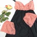 Melinda barackszínű csipkés pizsama, Ruha, divat, cipő, Női ruha, Fehérnemű, Varrás, Nyári pizsama, amely kényelmes, finom tapintású rugalmas pamutból és csipkéből készült.   Vállpántj..., Meska
