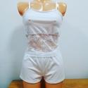 Lisa Fehér pizsama, Ruha, divat, cipő, Női ruha, Fehérnemű, Varrás, Fehér pizsama csipkével dekorálva.  Mérete: S, Meska