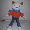 AKCIÓ!-20%Fázós Galagonya cica, öltöztethető, Baba-mama-gyerek, Játék, Játékfigura, Plüssállat, rongyjáték, Egyedi, kézzel és géppel varrt cica fiú. Igazi hordozhatós, játszó és alvótárs. Arca rávarrt, hímzet..., Meska