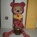 Borzas medve, Baba-mama-gyerek, Játék, Játékfigura, Plüssállat, rongyjáték, Egyedi, kézzel és géppel varrt maci. Igazi hurcolhatós, játszó és alvótárs, de polcon csücsülve is n..., Meska