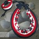 Piros-fehér-kék TRIBAL textilékszer szett, Ékszer, óra, Ékszerszett, Ékszerkészítés, Újrahasznosított alapanyagból készült termékek, A szett újrahasznosított alapanyagokból készült termék. A szálak varrottak (hengerek), rugalmas any..., Meska