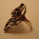 rózsás gyűrű, Ékszer, óra, Gyűrű, Ékszerkészítés, Ötvös, Rendelhető: 925-ös finomságú ezüstből készült, az antikolt rózsás gyűrű hossza 3,5 cm, a szélessége..., Meska