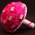 Mon Cheri csokor, Dekoráció, Virágkötés, A csokor 15 db Mon Cheri bonbonból áll., Meska
