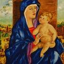 Madonna gyermekkel festmény akvarell 30x 40 cm, Képzőművészet , Festmény, Akvarell, Festészet, Eredeti kortárs akvarell festmény    Madonna gyermekkel Bellini után akvarell kartonon 30 x 40 cm  ..., Meska