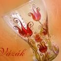 Festett üveg tulipános váza , Otthon, lakberendezés, Magyar motívumokkal, Esküvő, Kaspó, virágtartó, váza, korsó, cserép, Festett tárgyak, Üvegművészet, Saját tervezésű mintavilág alapján, kézzel festett tulipános üveg váza. Falióra, asztali lámpa és d..., Meska