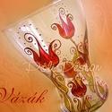 Váza - festett üveg tulipános váza, Otthon, lakberendezés, Magyar motívumokkal, Kaspó, virágtartó, váza, korsó, cserép, Festett tárgyak, Üvegművészet, A termékek általában megrendelésre készülnek! Saját tervezésű mintavilág alapján, egyedi, kézzel fe..., Meska