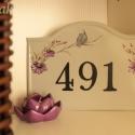 Házszám tábla madárral, Dekoráció, Otthon, lakberendezés, Utcatábla, névtábla, , Meska
