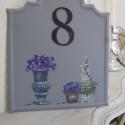 Hortenziás házszám tábla (szürke), Otthon, lakberendezés, Utcatábla, névtábla, , Meska