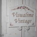 Vintage utca/házszám/névtábla rózsa mintával, Dekoráció, Otthon, lakberendezés, Utcatábla, névtábla, Festett tárgyak, Fémmegmunkálás, Préselt alumínium lemezből készült utca/házszám tábla. Több rétegű akril festés után szintén akrill..., Meska