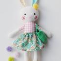 """Baba, Textilbaba, """"Pitypang nyuszilány"""", játékbaba, rongybaba , Játék, Baba-mama-gyerek, Baba, babaház, Plüssállat, rongyjáték, Pitypang,  a kis nyuszilány, 33 cm magas ( füllel együtt 40 cm) öltöztethető textilbaba, virágos cip..., Meska"""