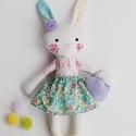 """Baba, Textilbaba, """"Ficánka nyuszilány"""", játékbaba, rongybaba , Játék, Baba-mama-gyerek, Baba, babaház, Plüssállat, rongyjáték, Ficánka, a kis nyuszilány, 33 cm magas ( füllel együtt 40 cm) öltöztethető textilbaba, virágos cipőc..., Meska"""