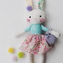 """Baba, Textilbaba, """"Pille nyuszilány"""", játékbaba, rongybaba , Játék, Baba-mama-gyerek, Baba, babaház, Plüssállat, rongyjáték, Baba-és bábkészítés, Varrás, Pille  a kis nyuszilány, 33 cm magas ( füllel együtt 40 cm) öltöztethető textilbaba, virágos cipőcs..., Meska"""