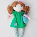 """Baba, Textilbaba, """"Kata tavasztündér"""", játékbaba, rongybaba , Játék, Baba-mama-gyerek, Baba, babaház, Plüssállat, rongyjáték, Baba-és bábkészítés, Varrás, Kata,  a kis tavasztündér, 31 cm magas öltöztethető textilbaba, csíkos harisnyában, romantikus horg..., Meska"""