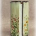 Asztali papírtörlő tartó henger mezei virág mintával, Konyhafelszerelés, Festett tárgyak, Decoupage, szalvétatechnika, Kiváló dísz bármilyen konyhában, emellett praktikus használati tárgy. Provence-i, romantikus hangul..., Meska