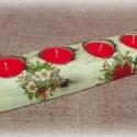 Mikulásvirágos karácsonyi fények - négyes mécsestartó, Otthon, lakberendezés, Gyertya, mécses, gyertyatartó, Karácsonyi, adventi apróságok, Karácsonyi dekoráció, Decoupage, szalvétatechnika, Famegmunkálás, Egy szép, alaposan kiszáradt fadarabot használtam alapnak. Ezt formáztam (héjaztam, kettévágtam, cs..., Meska