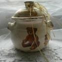 nagyobb méretű macis mézes  csupor, Dekoráció, Otthon, lakberendezés, Kaspó, virágtartó, váza, korsó, cserép, Tárolóeszköz, Decoupage, szalvétatechnika, Festett tárgyak, Belül mázas,kb. 17 cm magas és kb.16 cm. széles, ez a macis, méhecskés mézes csupor, mely ajándékna..., Meska