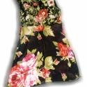 Rózsás tunika, Ruha, divat, cipő, Női ruha, Varrás, Ujjatlan rózsamintás tunika.Mellrésze pamut jersey,passzé nyakkivágás,áttetsző muszlin alsórész,a k..., Meska