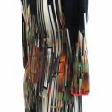 Geometrikus ruha, Ruha, divat, cipő, Női ruha, Varrás, Mintás pamut-viszkóz-lycra ruha, bevont, levarrt külső válltöméssel. Mérete: M, Meska