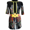 Geometrikus ruha, Ruha, divat, cipő, Női ruha, Varrás, Mintás pamut-viszkóz-lycra ruha, neonsárga anyaggal eldolgozva a fekete necc betét, a nyaka és az u..., Meska