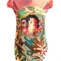 Mexikói zsebes felső, Ruha, divat, cipő, Női ruha, Ruha, Varrás, Mintás pamut-viszkóz-lycra alapon mexikói lány digitális print, körbe arany flittercsík fut, középe..., Meska