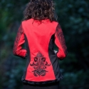 Hímzett kabátka, Ruha, divat, cipő, Női ruha, Hímzés, Varrás, Rendelhető! Jelenleg nincs raktáron, az elkészítési idő méretek alapján kb.2 hét. Piros kissé strec..., Meska