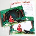 Piroska és a farkas -  térbeli képeslap, Játék, Képeslap, album, füzet, Képzőművészet , Baba-mama-gyerek, Papírművészet, Baba-és bábkészítés, Az instrukció követésével, kivágva a képeket és összeragasztva a csomagban található lapocskák segít..., Meska